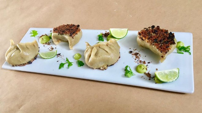 "The ""Chicken Chilaquiles Potsticker"" features cumin dough, cotija cheese and roasted black bean crispy edge, sauced with guacamole and lime. - PHOTO COURTESY OF LINDSAY KEATON"