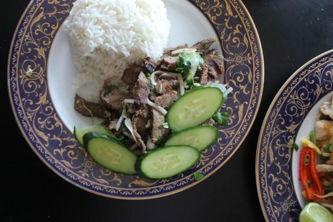The spicy steak, a twist on a Laotian delicacy. - CHERYL BAEHR