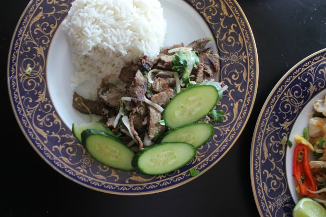 The spicy steak, a twist on a Laotian delicacy. - CHERYL BAEHR