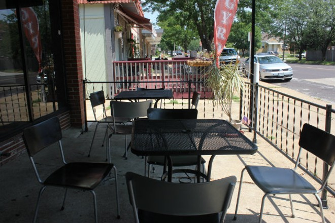 The restaurant has a covered outdoor seating area. - CHERYL BAEHR
