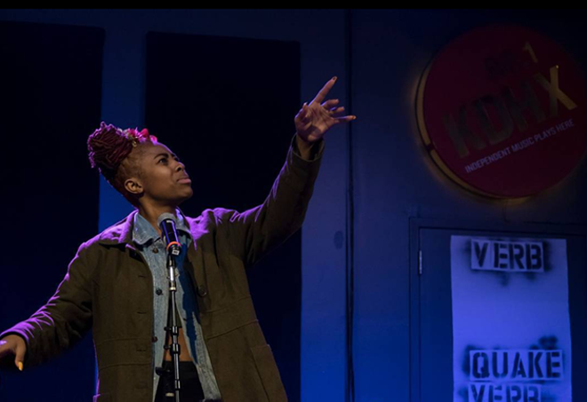 Bisa Adero, St. Louis Youth Poet Laureate at VerbQuake Final - COURTESY OF URBARTS