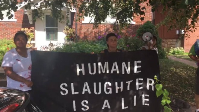 """""""I respect that their heart is in the right place,"""" activist Sasha Monik says of Mac's Local Eats, """"but at the end of the day there is no humane way to kill somebody that doesn't want to die."""" - PHOTO COURTESY OF SASHA MONIK"""