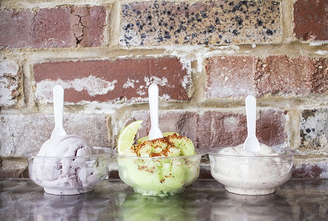 Ice cream flavors include blackberry, cucumber with chile powder and chocolate de abuelita. - PHOTO BY MABEL SUEN