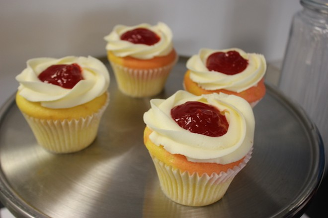 Lemon-berry cupcakes have lemon icing and strawberry glaze. - PHOTO BY SARAH FENSKE