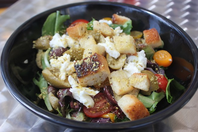 A killer panzanella salad offers three types of olives, fresh mozzarella and, of course, bread. - PHOTO BY SARAH FENSKE