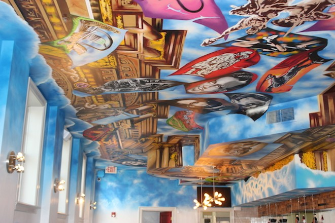 Not to give away too much of Rosic's mural on the other side of the cafe, but it's basically .... epic. - PHOTO BY SARAH FENSKE
