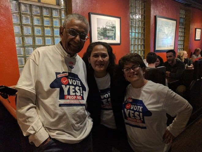 Prop NS volunteers Alvin Willis, Sundy Whiteside and Stacy Ross on election night — a defeat that could still turn into victory. - COURTESY OF STACY ROSS