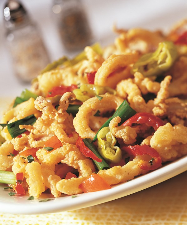 PAN-FRIED CALAMARI WITH HOT CHERRY PEPPERS