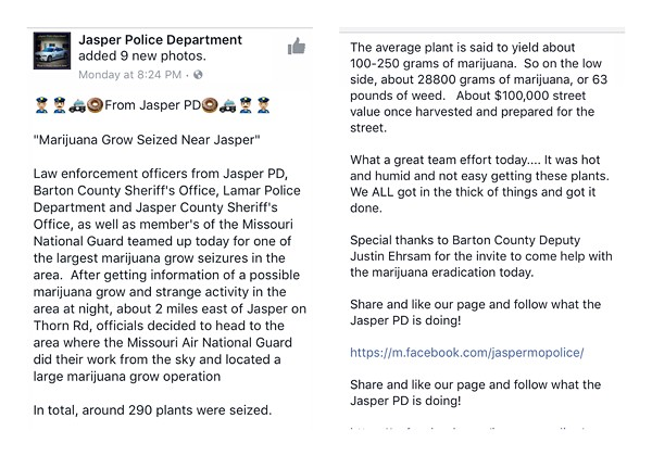 This Jasper police press release described a giant marijuana seizure before it was deleted from Facebook. - IMAGE VIA JASPER POLICE DEPARTMENT FACEBOOK PAGE
