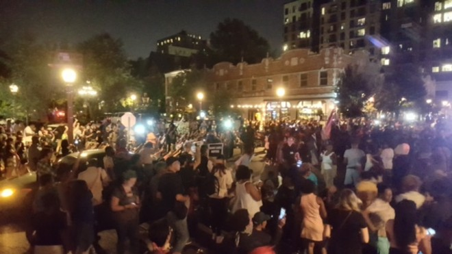 Hundreds of protesters fill St. Louis' Central West End on Friday, September 15. - PHOTO BY DANNY WICENTOWSKI