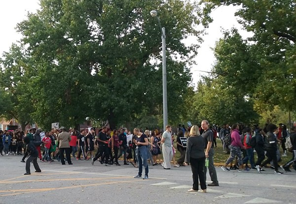Students protest in front of University City High School. - PAUL FRISWOLD