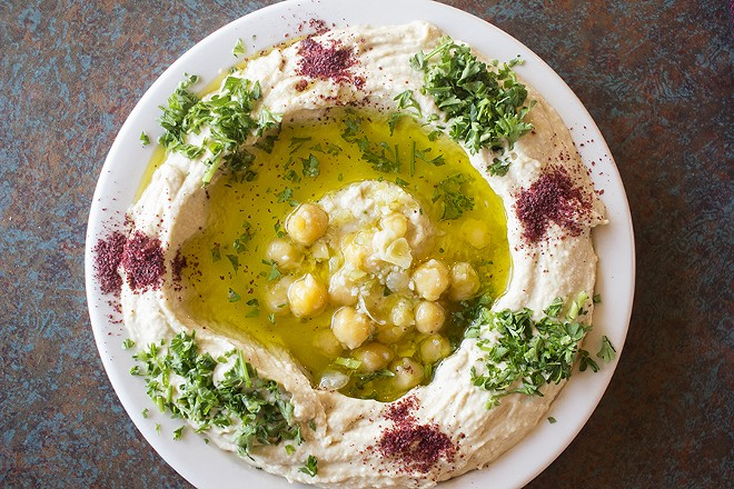Hummus made up of blended chickpeas with tahini, lemon juice and garlic. - PHOTO BY MABEL SUEN