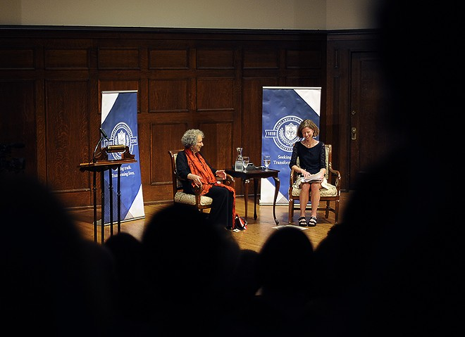 Margaret Atwood, left, was in St. Louis on Tuesday, September 19, to receive a literary award. - PHOTO BY KELLY GLUECK