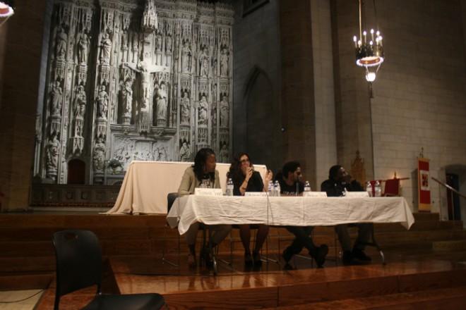 From left: Treasurer Tishaura Jones, Alderwoman Megan Ellyia Green, Democratic Committeeman Rasheen Aldridge and Rep. Bruce Franks Jr. - PHOTO BY DOYLE MURPHY