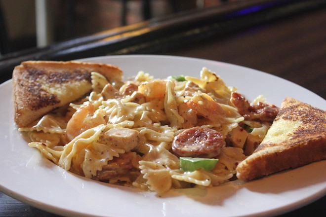 """The """"Four Columns"""" pasta includes Andouille sausage, shrimp, chicken and peppers in a Cajun cream sauce. - PHOTO BY SARAH FENSKE"""