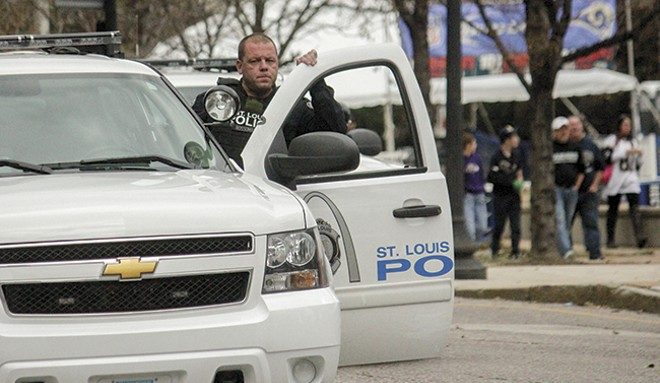 Sgt. Rossomanno (shown on November 30, 2014) first landed on protesters' radar following the death of Michael Brown. - DANNY WICENTOWSKI