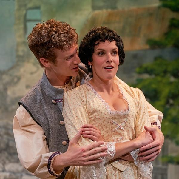 Waclaw (Pete Winfrey) comforts Klara (Caitlin Mickey). - PROPHOTOSTL.COM
