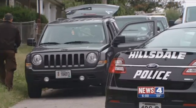 A Hillsdale cop's Jeep, shown in a screen shot, was stolen along with guns, police say. - IMAGE VIA KMOV