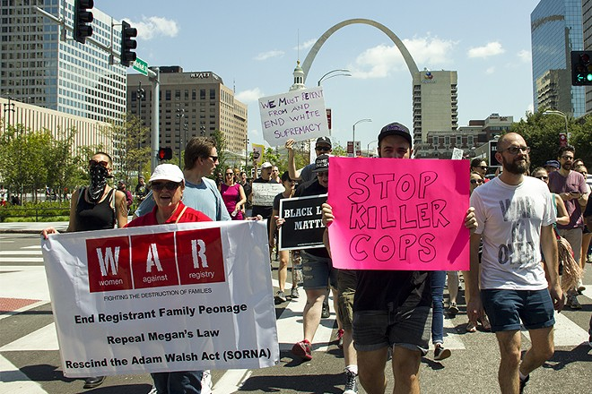 WAR marches at a protest downtown about a month before Jason Stockley's acquittal. - DANNY WICENTOWSKI