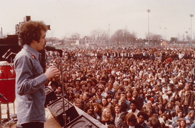 A scene from KSHE's 1974 Kite Fly, a huge event in Forest Park during KSHE's early days, at which then up-and-coming act KISS performed. - PHOTO VIA MARQUEE MEDIA AND MARKETING