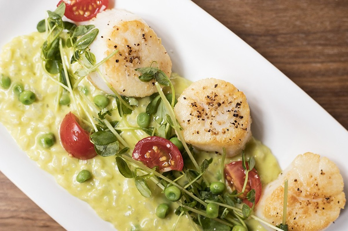 Sea scallops are served with pea risotto, tomatoes, pea shoots, mint and olive oil.