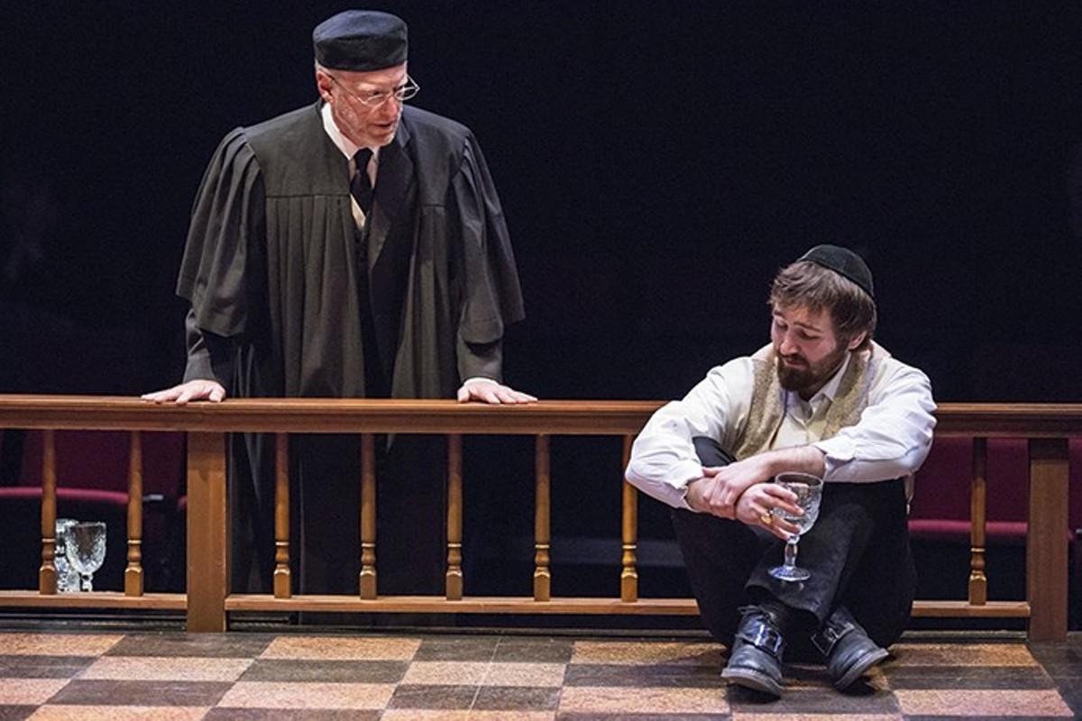 Rabbi Mortera (John Flack) asks Spinoza (Rob Riordan) what he's thinking.