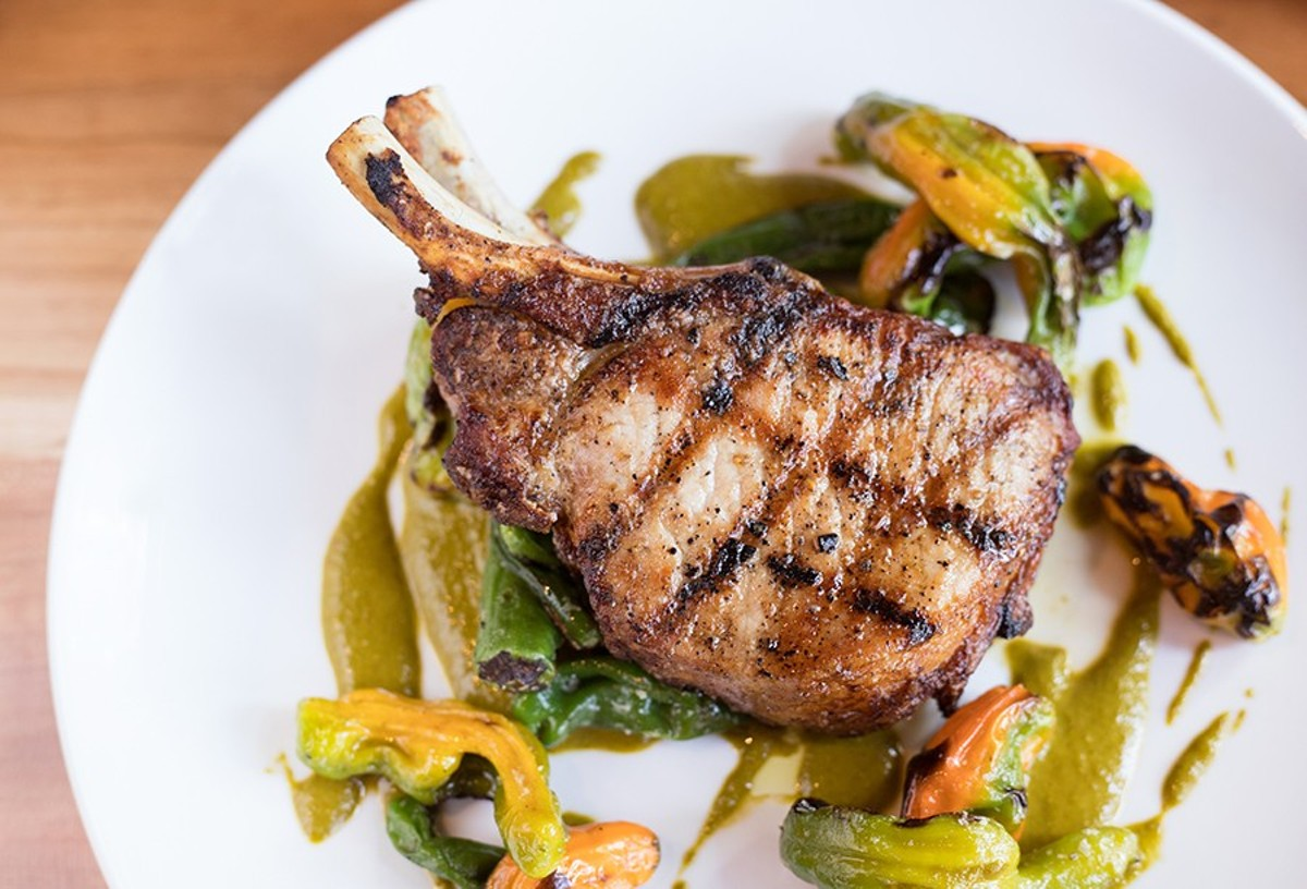 Louie's food is simply, but expertly prepared, as this pork chop with shishito and chermoula demonstrates.