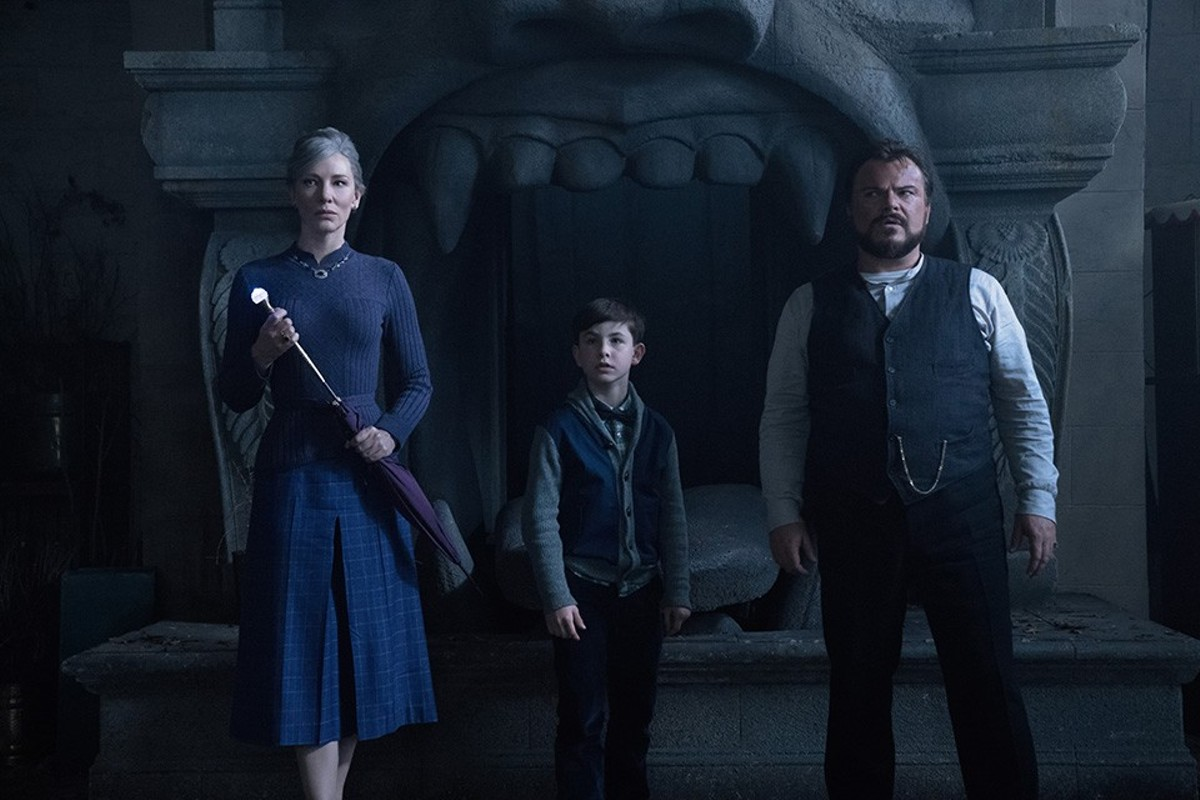 Mrs. Zimmerman (Cate Blanchett) and and Uncle Jonathan (Jack Black) guide young Lewis (Owen Vaccaro).