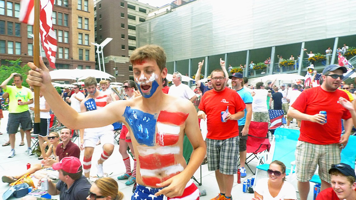 Real men of genius: USA fans at Old Post Office Plaza.