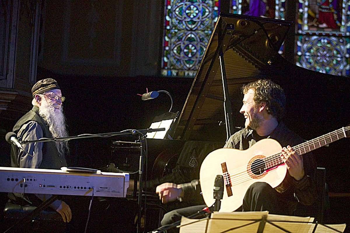 Terry Riley, left, has inspired musicians from Philip Glass to Brian Eno.