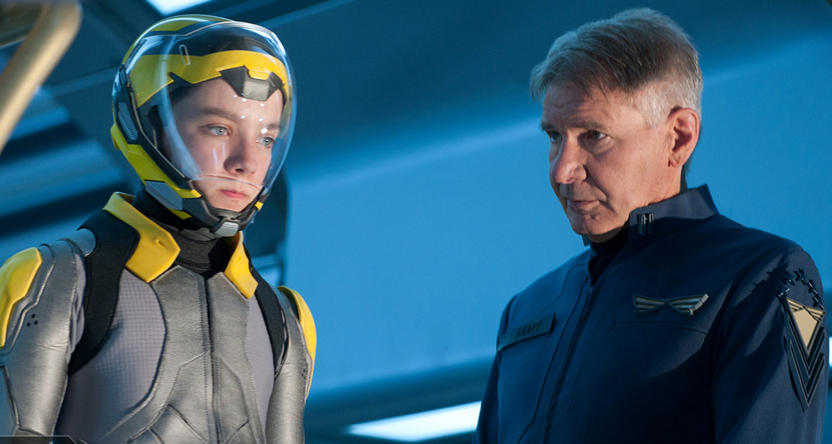 Asa Butterfield and Harrison Ford in Ender's Game, where the ridiculousness outweighs its few strong qualities.