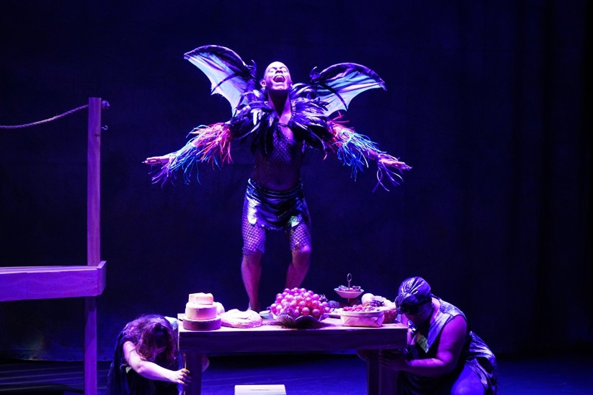 Ariel (Karl Hawkins) does the bidding of his mistress, Prospera, in dramatic fashion.