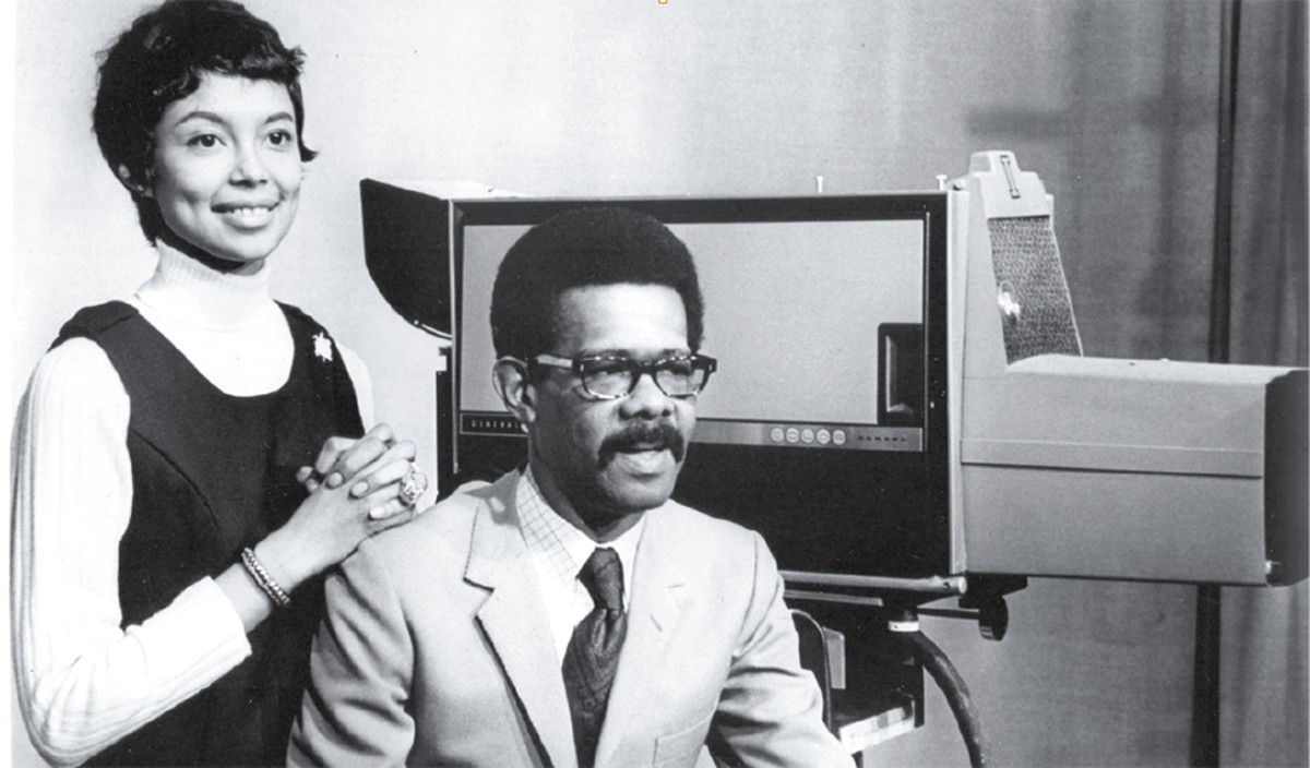 Loretta Long and Ellis Haizlip on the set of Soul!, the first weekly TV show devoted to African-American culture and ideas.