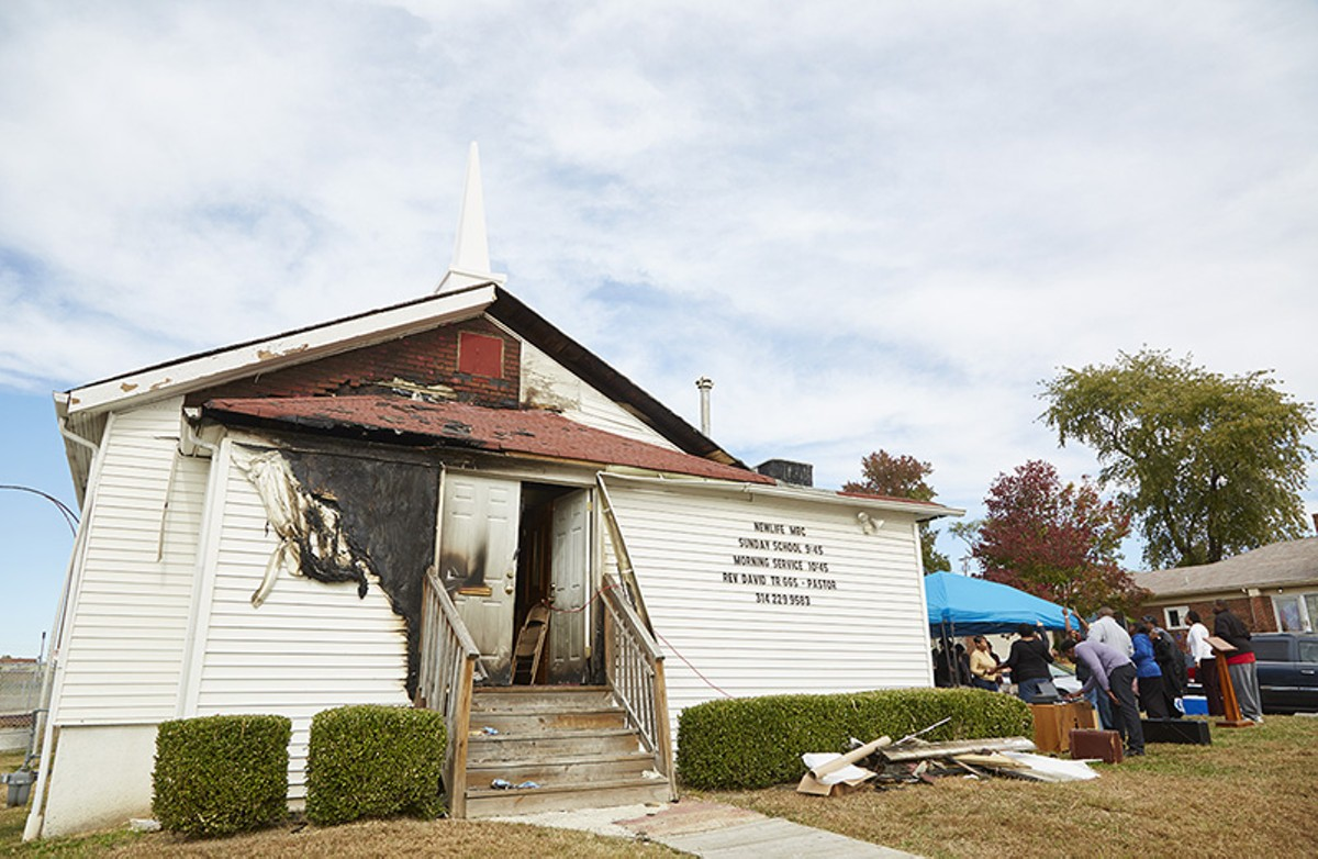 The New Life Missionary Baptist Church, the site of the fifth church fire in two weeks.