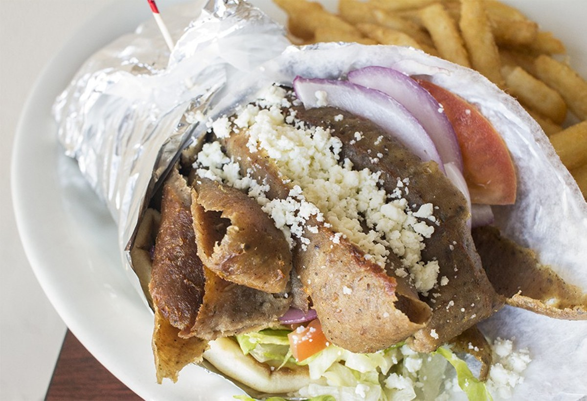 Dados' gyro sandwich, served with tzatziki sauce.