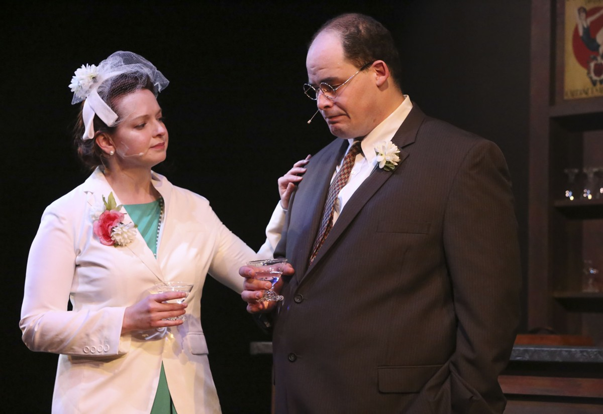 Zachary Allen Farmer (right) carries the show as Leo Szilard.