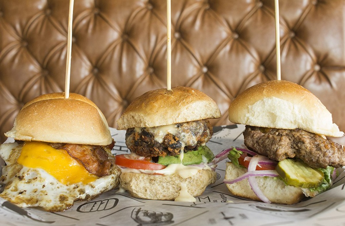 "A selection of Slider House sandwiches: ""Fast Break,"" ""Skinny Jean"" and ""All American."""