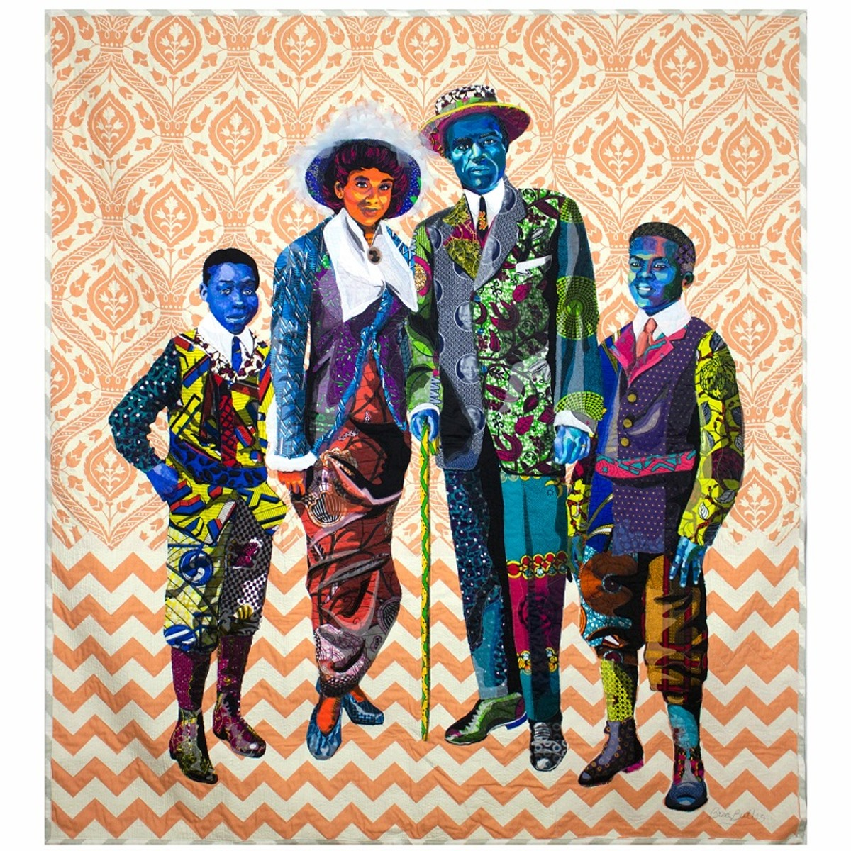 Bisa Butler. Black Star Family, first class tickets to Liberia (2018). 85 x 79 inches. Cotton, silk and denim. Courtesy of artist and Claire Oliver Gallery