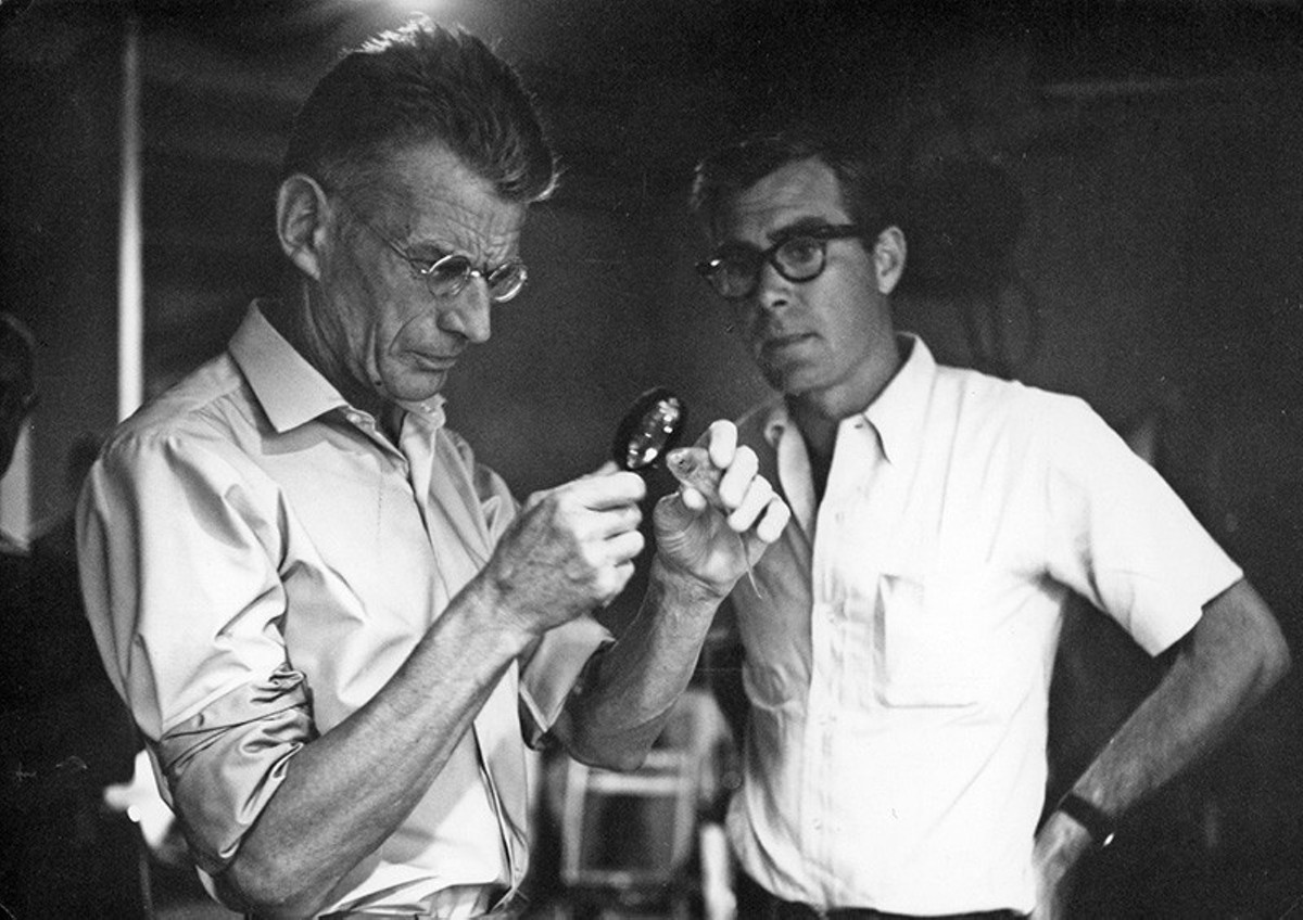 Samuel Beckett auditioning a fish for Film.