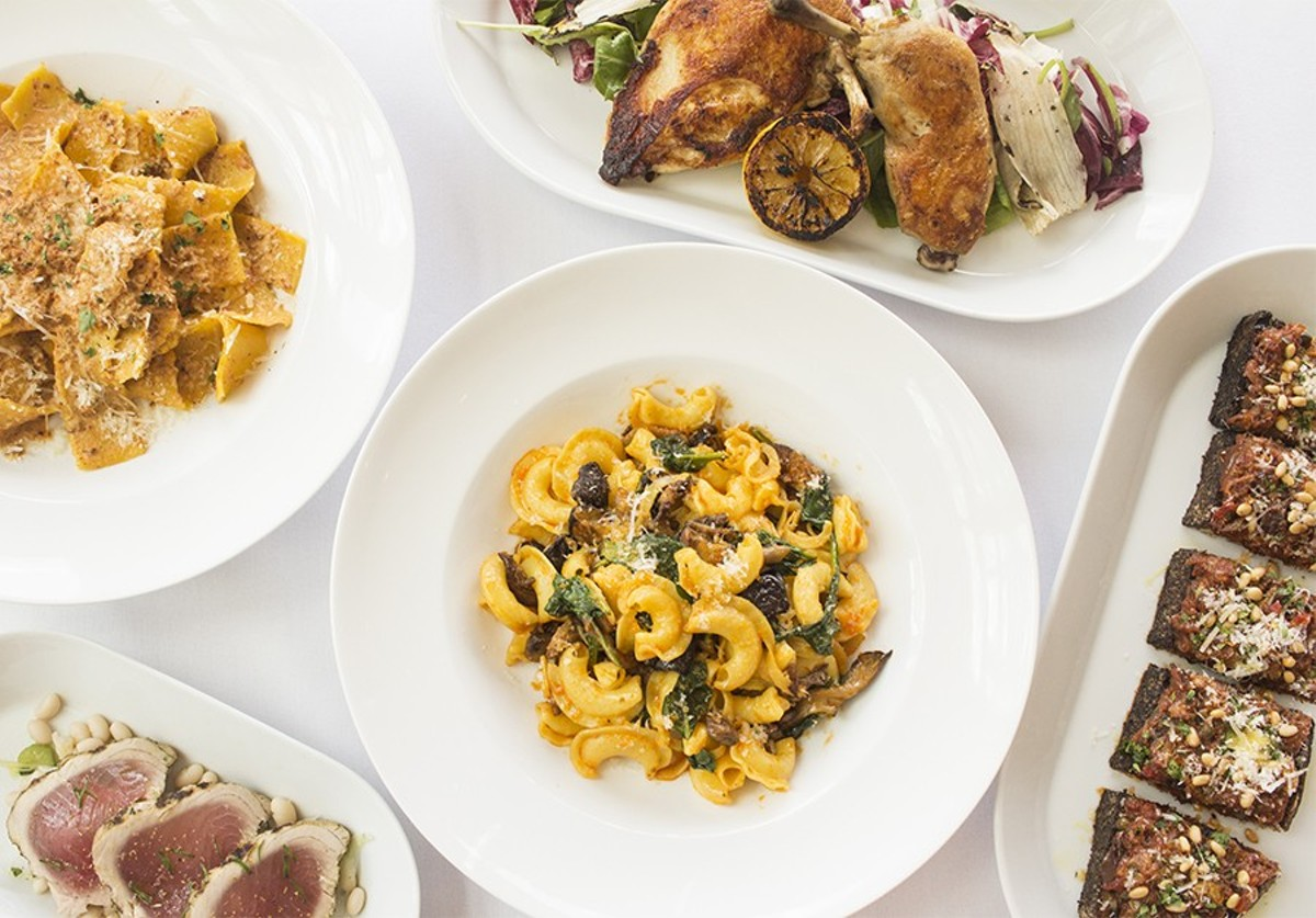 A selection of dishes from Parigi: pappardelle al ragu, pollo arrosto, tonno, creste di gallo and bruschetta di caponata.