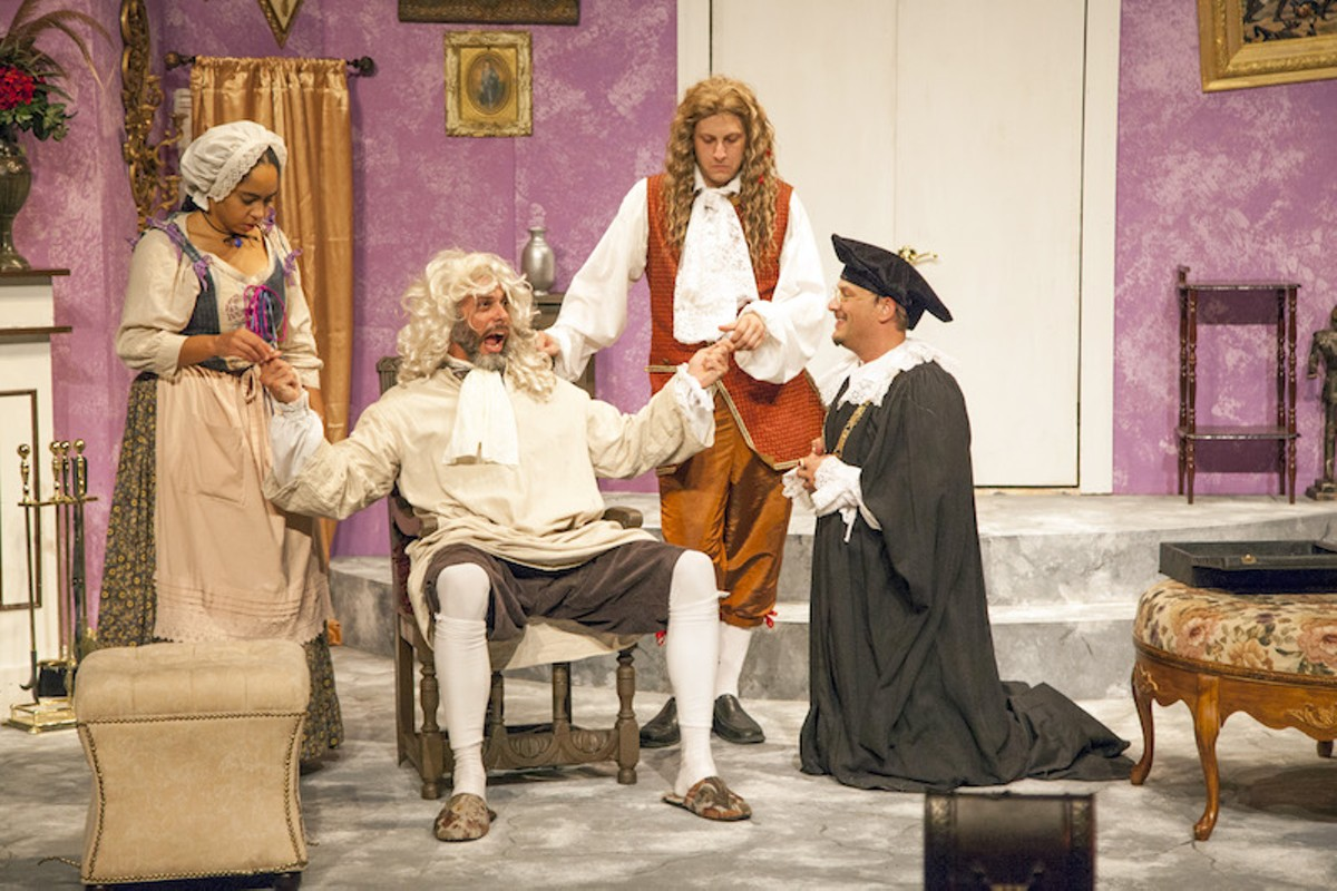 Crispin (Isaiah DiLorenzo, seated) will do anything to marry his Lisette (Britteny Henry, far left) -- even wear this wig.