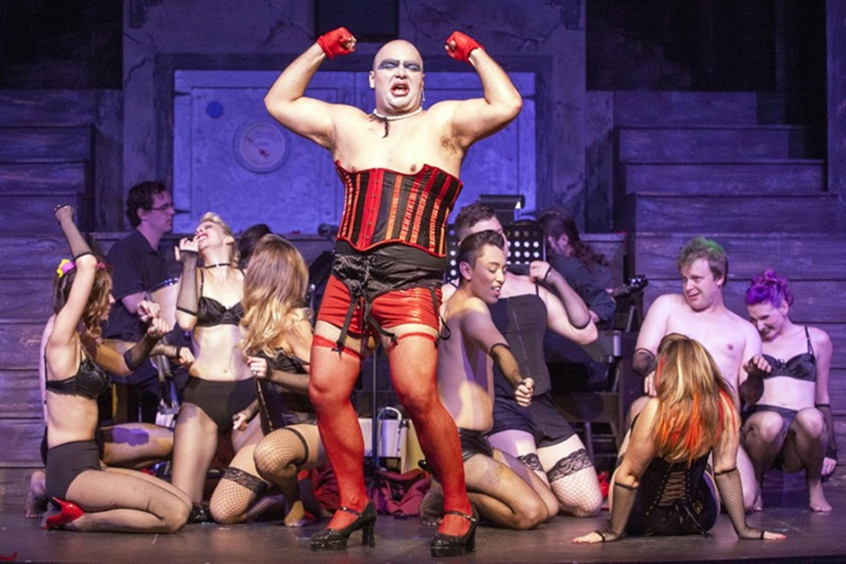 Michael Juncal (center) is a heroic Frank 'N' Furter.