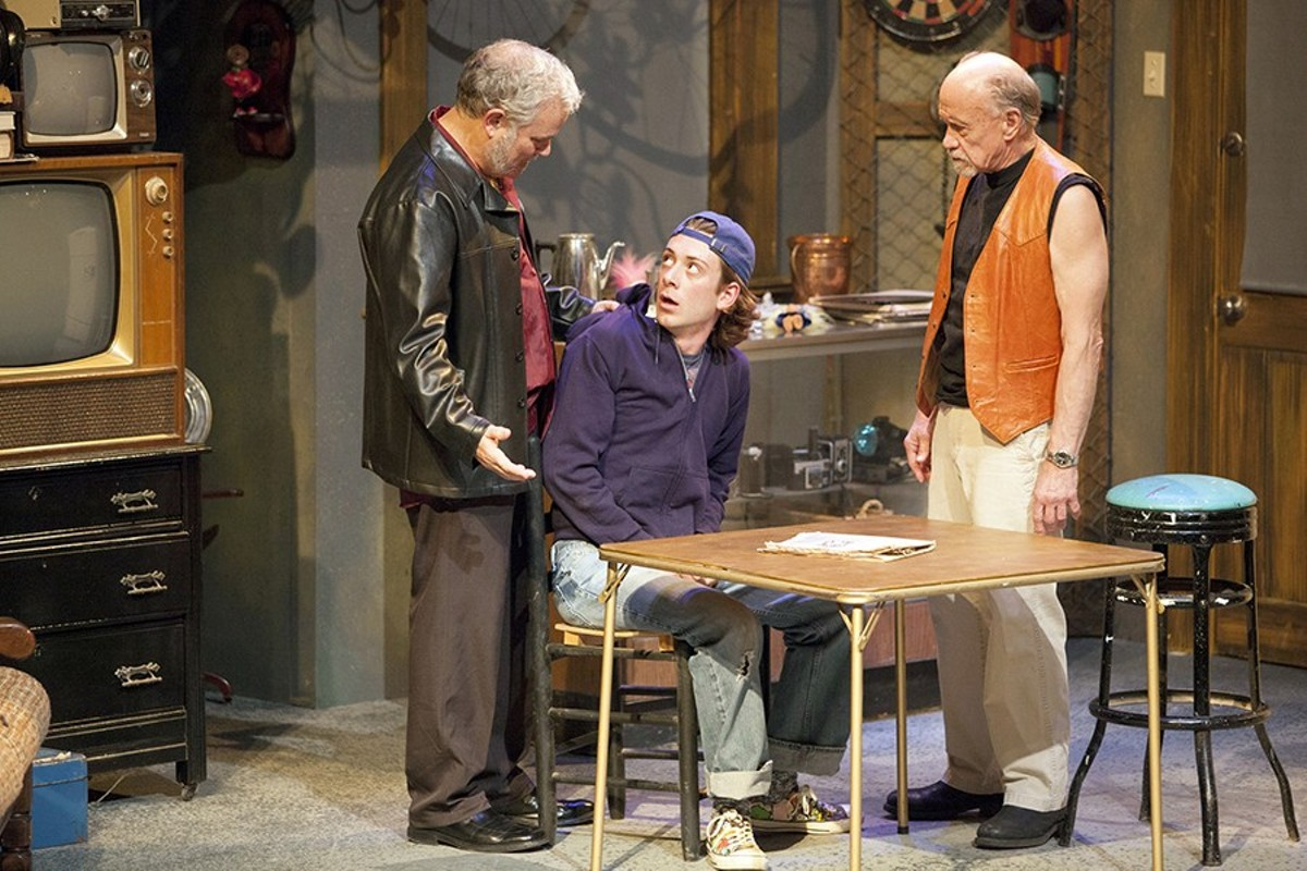 Teach (William Roth) pressures Bobby (Leo Ramsey) while Donny (Peter Mayer) watches.