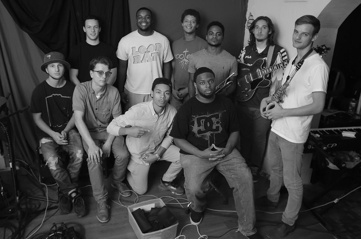 The members of Looprat, gathered at Suburban Pro Studios.