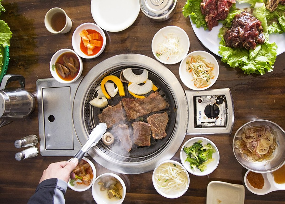 Guests can grill their own meat on Wudon's tabletop barbecues.