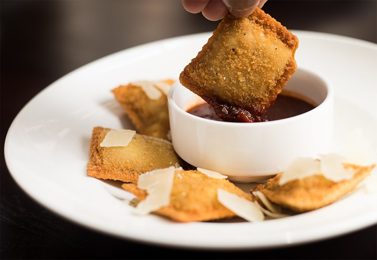 Union 30 serves St. Louis favorites like toasted ravioli -- here stuffed with smoked pulled pork and served with barbecue marinara.