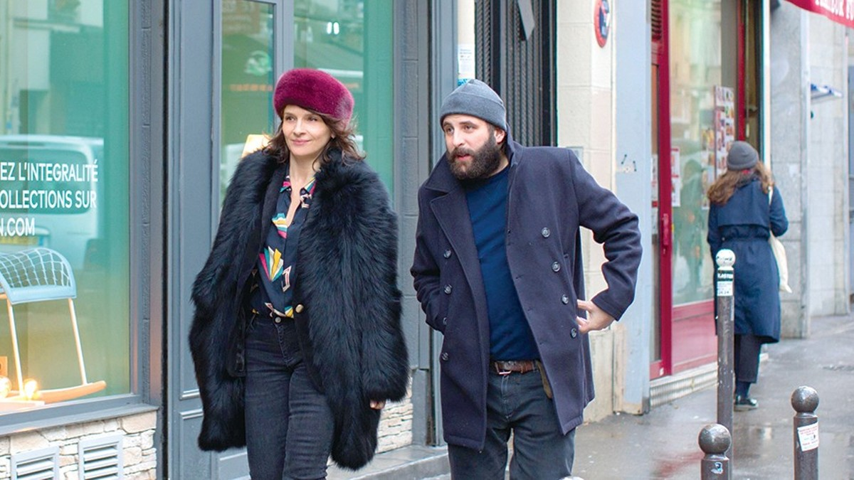 "Juliette Binoche as ""Selena"" and Vincent Macaigne as ""Léonard Spiegel"" in Olivier Assayas's Non-Fiction."