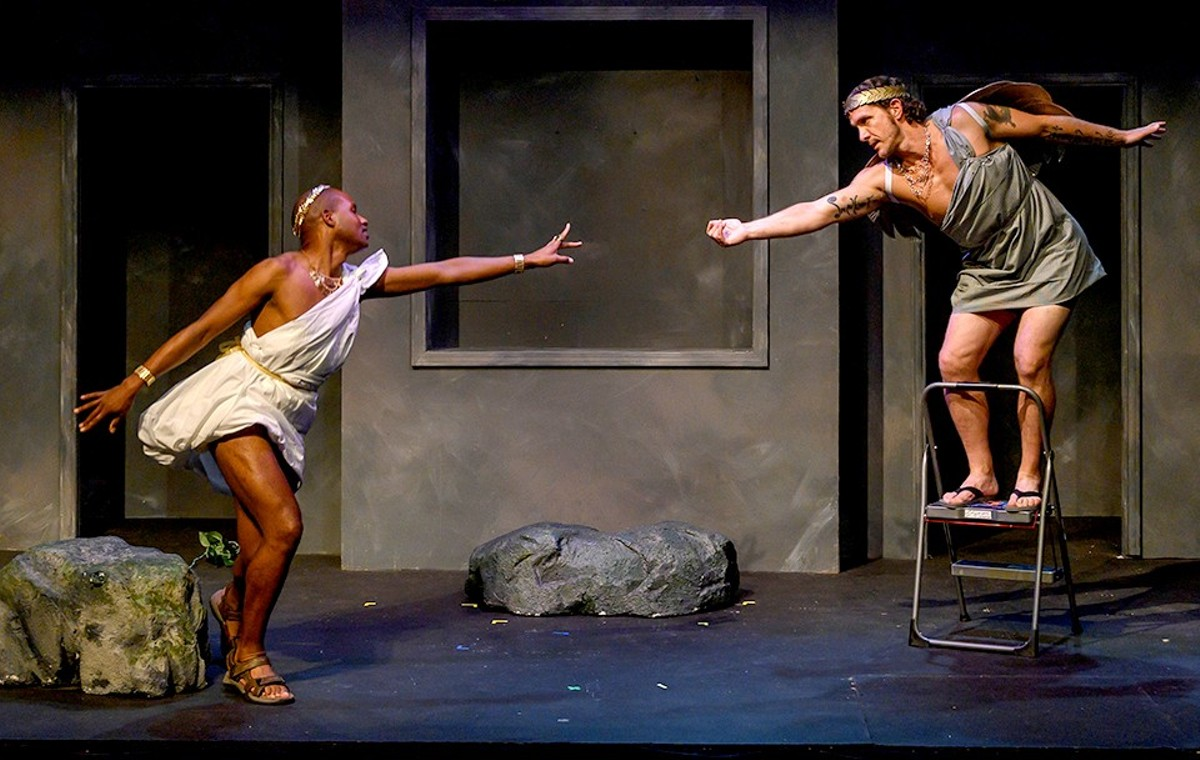 Sisyphus and Icarus (Tielere Cheatem and Shane Signorino) find love and laughter in Sisyphus and Icarus: a Love story.