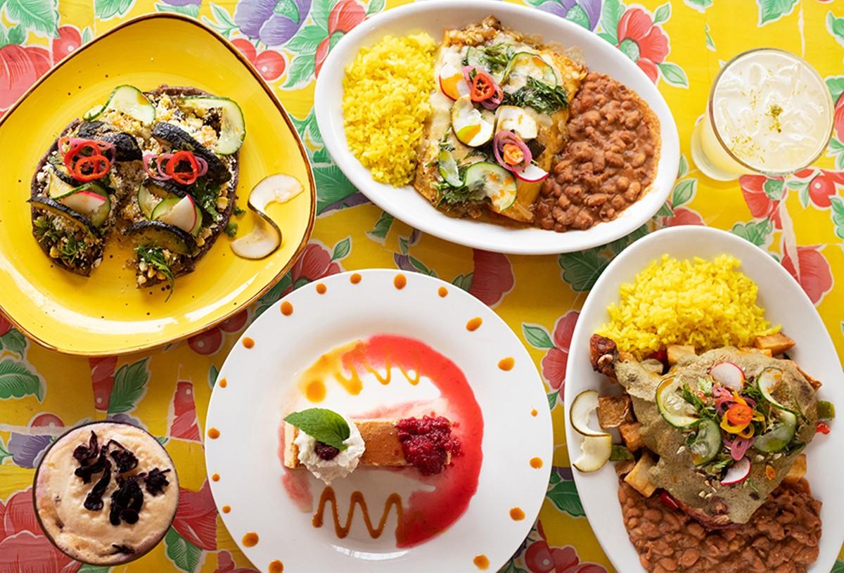 Pictured from left to right, top to bottom: huarache da maiz azul, enchiladas, flan de queso and Pollo Alto.