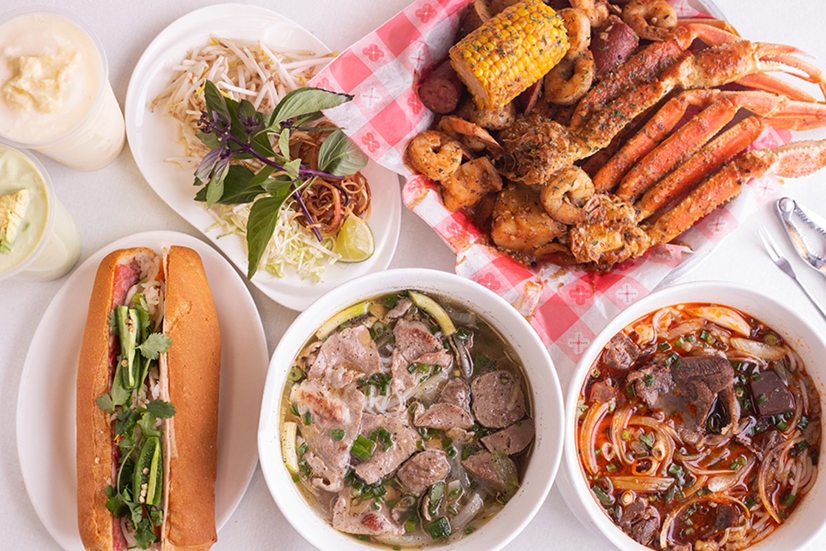 A selection of items from Joyful House, pictured from left to right, top to bottom: avocado smoothie, durian smoothie, a side of fresh herbs and bean sprouts to accent bowls of pho, seafood boil, bánh mì đặc biệt, phở tái bò viên and bún bò huế.